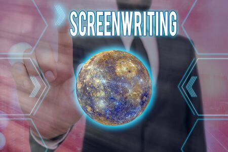 Handwriting text writing Screenwriting. Conceptual photo the art and craft of writing scripts for media communication Futuristic icons solar system.