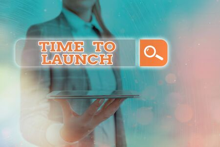 Text sign showing Time To Launch. Business photo text Business StartUp, planning and strategy, management, realization Web search digital information futuristic technology network connection
