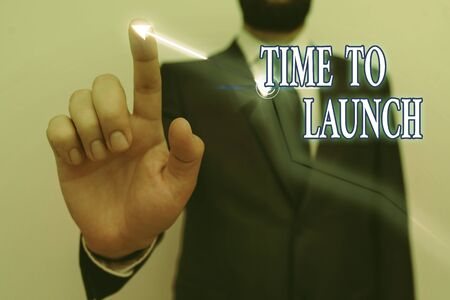 Text sign showing Time To Launch. Business photo text Business StartUp, planning and strategy, management, realization Ascending growth trends movement performance financial chart status report