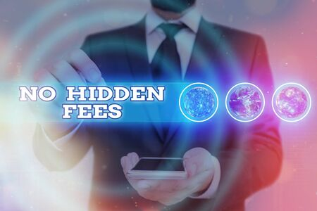 Word writing text No Hidden Fees. Business photo showcasing without or zero bank charge, service charge, or extras Futuristic icons solar system.