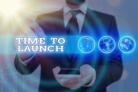 Word writing text Time To Launch. Business photo showcasing Business Start Up, planning and strategy, management, realization Futuristic icons solar system.
