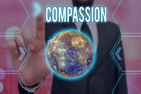 Handwriting text writing Compassion. Conceptual photo empathy and concern for the pain or misfortune of others Futuristic icons solar system.