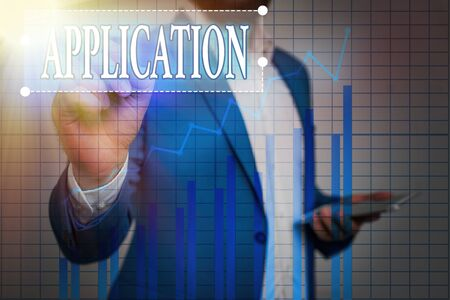 Text sign showing Application. Business photo showcasing an order for something formal and usually written form Ascending growth trends movement performance financial chart status report 版權商用圖片