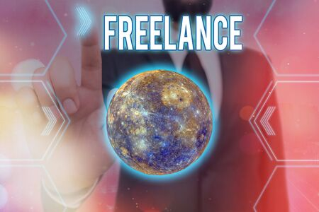 Handwriting text writing Freelance. Conceptual photo working at different firms rather than being permanently Futuristic icons solar system.