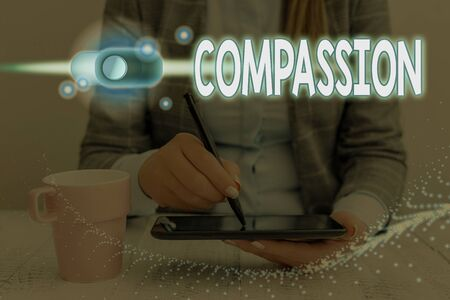 Writing note showing Compassion. Business concept for empathy and concern for the pain or misfortune of others Graphics padlock for web data information security application system