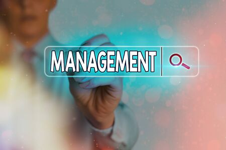 Writing note showing Management. Business concept for the authoritative act of directing or controlling things Web search digital information futuristic technology network connection