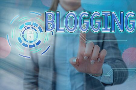 Word writing text Blogging. Business photo showcasing contains online an individualal reflections comments videos and photograph Graphics padlock for web data information security application system Stock Photo