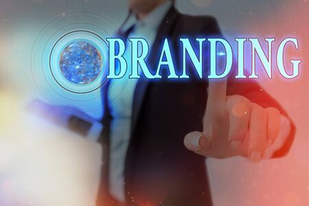 Word writing text Branding. Business photo showcasing promotion of product by means of advertising and distinctive design Futuristic icons solar system.