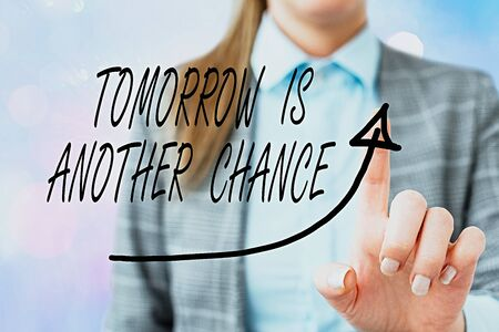 Conceptual hand writing showing Tomorrow Is Another Chance. Concept meaning More opportunities better result despite failure Digital arrowhead curve denoting growth development concept Archivio Fotografico