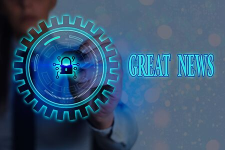 Writing note showing Great News. Business concept for the surprised reaction of learning good news or fortunate event Graphics padlock for web data information security application system