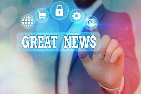 Handwriting text Great News. Conceptual photo the surprised reaction of learning good news or fortunate event Information digital technology network connection infographic elements icon