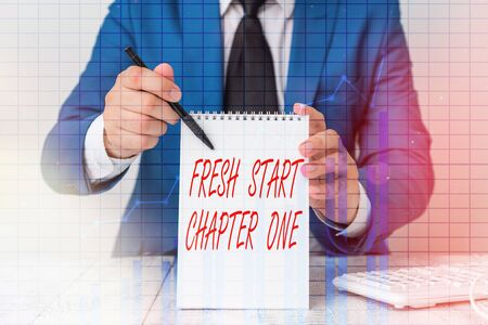 Writing note showing Fresh Start Chapter One. Business concept for changes in your circumstances new career and chances Ascending growth trends performance financial chart report 스톡 콘텐츠