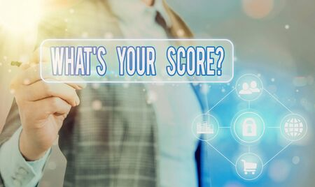 Text sign showing What S Your Score Question. Business photo text Tell Personal Individual Rating Average Results Statistics Information digital technology network connection infographic elements icon
