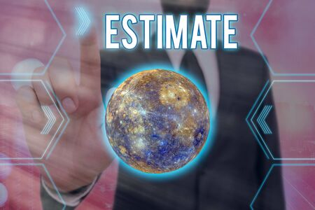 Handwriting text writing Estimate. Conceptual photo calculate or assess approximately the value number quantity Futuristic icons solar system.