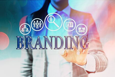 Handwriting text writing Branding. Conceptual photo promotion of product by means of advertising and distinctive design Information digital technology network connection infographic elements icon