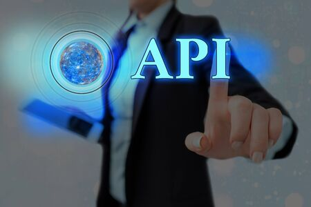 Word writing text Api. Business photo showcasing set of routines, protocols, and tools for building software applications Futuristic icons solar system.