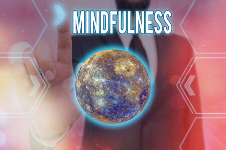 Handwriting text writing Mindfulness. Conceptual photo state of mind attained by concentrating one s is attention Futuristic icons solar system.