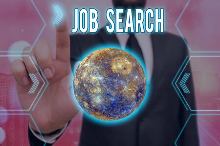 Handwriting text writing Job Search. Conceptual photo an act of sourcing for job openings and apply for a position Futuristic icons solar system.