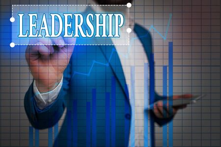 Text sign showing Leadership. Business photo showcasing art of motivating to act toward achieving a common goal Ascending growth trends movement performance financial chart status report