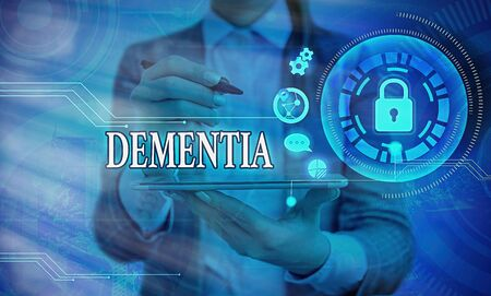 Word writing text Dementia. Business photo showcasing the general word for diseases and disorders with a loss in memory Graphics padlock for web data information security application system