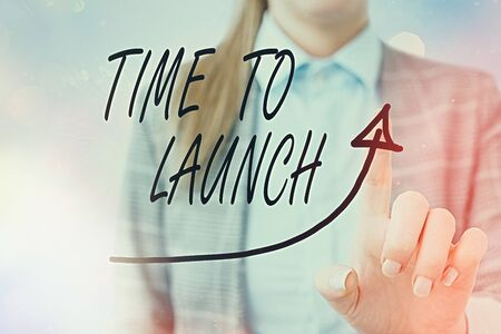 Conceptual hand writing showing Time To Launch. Concept meaning Business StartUp, planning and strategy, management, realization Digital arrowhead curve denoting growth development concept