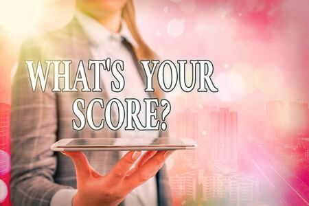 Conceptual hand writing showing What S Your Score Question. Concept meaning Tell Personal Individual Rating Average Results Statistics Touch screen digital marking important details in business Stok Fotoğraf