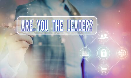 Text sign showing Are You The Leader Question. Business photo text asking for the qualification of being a good boss Information digital technology network connection infographic elements icon Standard-Bild