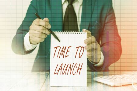 Writing note showing Time To Launch. Business concept for Business StartUp, planning and strategy, management, realization Ascending growth trends performance financial chart report