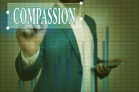 Text sign showing Compassion. Business photo showcasing empathy and concern for the pain or misfortune of others Ascending growth trends movement performance financial chart status report Banco de Imagens