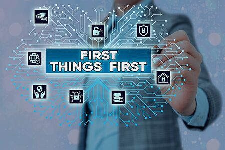 Word writing text First Things First. Business photo showcasing Business, technology, internet, set your priorities and most important System administrator control, gear configuration settings tools concept