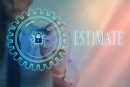 Writing note showing Estimate. Business concept for calculate or assess approximately the value number quantity Graphics padlock for web data information security application system