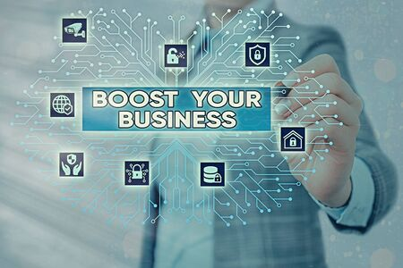 Word writing text Boost Your Business. Business photo showcasing Suitable for web Landing page, web page design to increase profit System administrator control, gear configuration settings tools concept