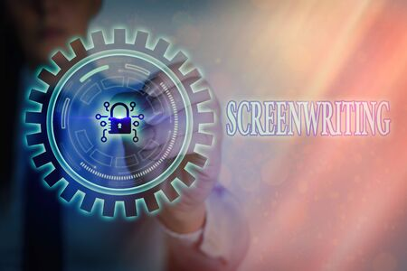 Writing note showing Screenwriting. Business concept for the art and craft of writing scripts for media communication Graphics padlock for web data information security application system