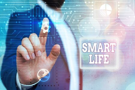 Text sign showing Smart Life. Business photo showcasing technology that works to make living enjoyable and comfortable System administrator control, gear configuration settings tools concept