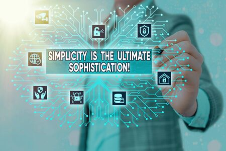 Word writing text Simplicity Is The Ultimate Sophistication. Business photo showcasing simplify presentations best result System administrator control, gear configuration settings tools concept Фото со стока