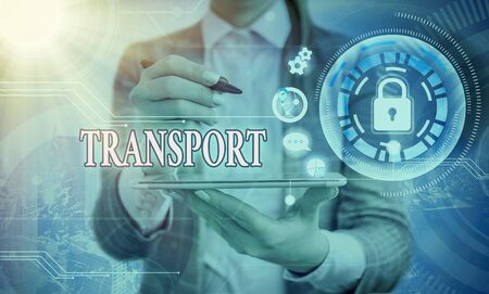 Word writing text Transport. Business photo showcasing carry passengers by truck or ferry from one place to another Graphics padlock for web data information security application system