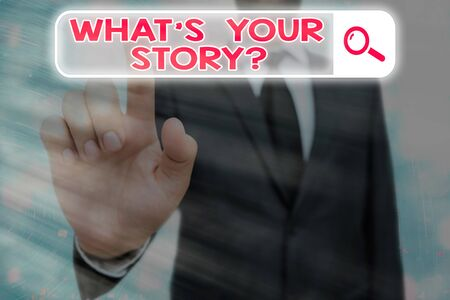 Conceptual hand writing showing What S Your Story Question. Concept meaning Share or tell us your life experiences and success Web search digital futuristic technology network connection Stock Photo
