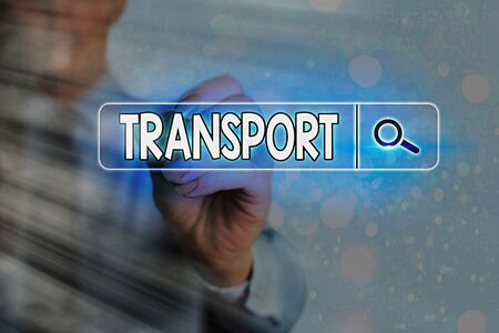 Writing note showing Transport. Business concept for carry passengers by truck or ferry from one place to another Web search digital information futuristic technology network connection