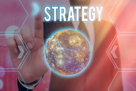 Handwriting text writing Strategy. Conceptual photo action plan or strategy designed to achieve an overall goal Futuristic icons solar system.