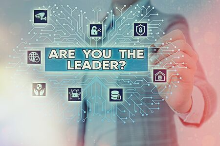 Word writing text Are You The Leader Question. Business photo showcasing asking for the qualification of being a good boss System administrator control, gear configuration settings tools concept