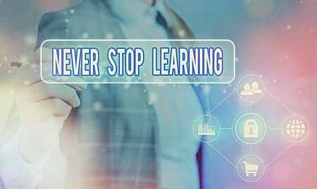 Text sign showing Never Stop Learning. Business photo text continuous education and techniques to be competitive Information digital technology network connection infographic elements icon Standard-Bild