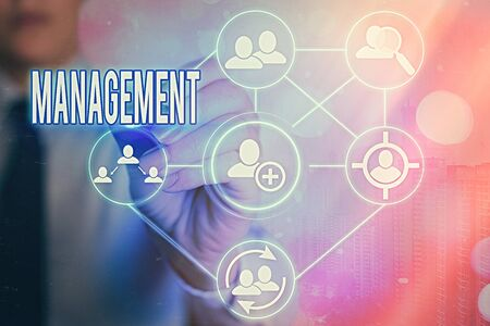 Writing note showing Management. Business concept for the authoritative act of directing or controlling things Information digital technology network infographic elements