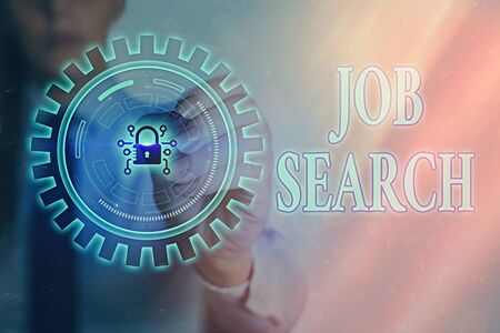 Writing note showing Job Search. Business concept for an act of sourcing for job openings and apply for a position Graphics padlock for web data information security application system