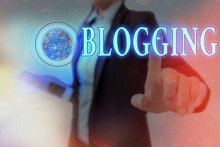 Word writing text Blogging. Business photo showcasing contains online an individual reflections comments videos and photograph Futuristic icons solar system. 스톡 콘텐츠