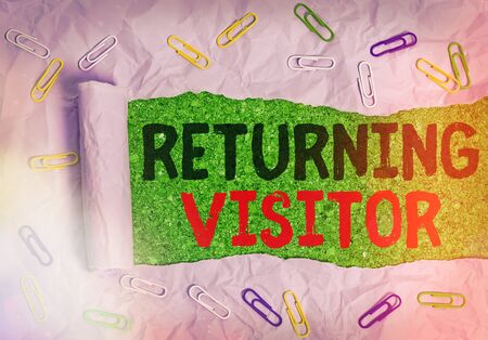 Writing note showing Returning Visitor. Business concept for who had visited before and come back to your site Фото со стока