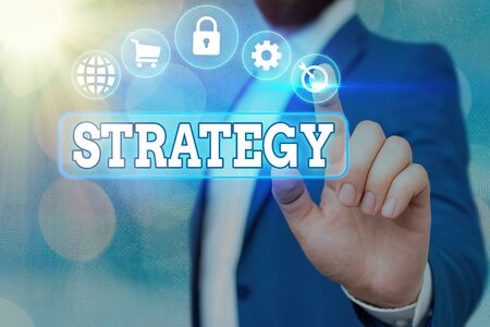 Handwriting text Strategy. Conceptual photo action plan or strategy designed to achieve an overall goal Information digital technology network connection infographic elements icon