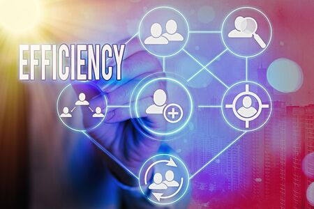 Writing note showing Efficiency. Business concept for ability to prevent a waste of resources energy money and time Information digital technology network infographic elements Stock Photo