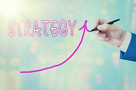Writing note showing Strategy. Business concept for action plan or strategy designed to achieve an overall goal Digital arrowhead curve denoting growth development concept