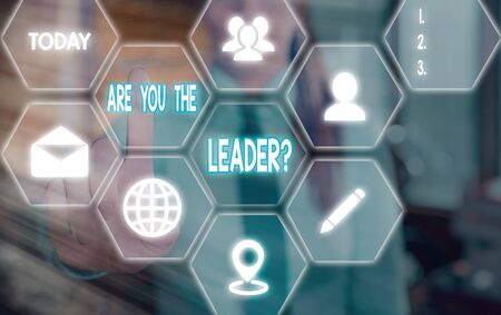 Handwriting text Are You The Leader Question. Conceptual photo asking for the qualification of being a good boss Grids and different set up of the icons latest digital technology concept