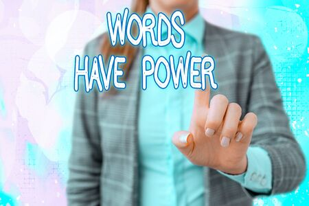 Handwriting text writing Words Have Power. Conceptual photo essential tools individuals use to communicate and learn Touching screen digital application marking important details in business